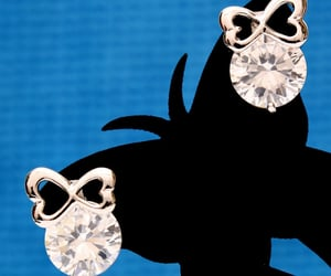 silver stud earrings, for girls girlfriend, and butterfly knot fashion image
