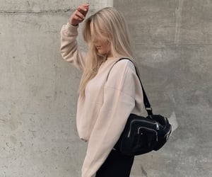 blond hair, jumper, and outfit image