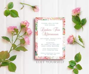 etsy, instant download, and tea party invitation image