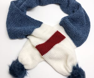 made in the usa, fur pom poms, and blue scarf image