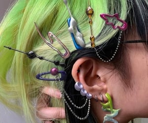 cyber, green, and hair image