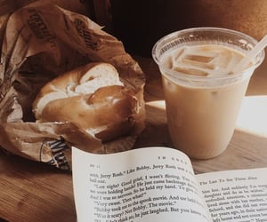 book, coffee, and bagel image