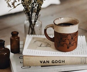 book, coffee, and van gogh image