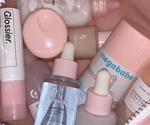 pink, makeup, and glossier image