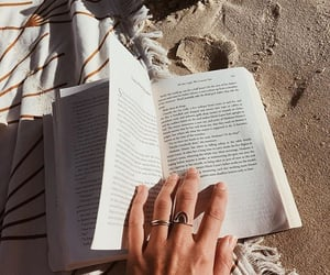 beach, book, and hand image
