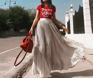 jacket, tee, and pleated skirt image