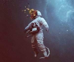 wallpaper, astronaut, and flowers image