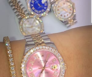 pink, rich, and rolex image