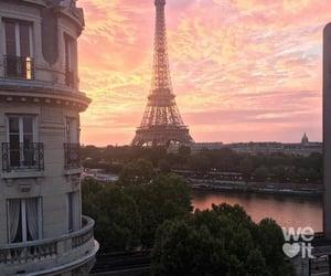 paris, sunset, and sky image