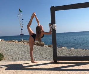 beach, flexibility, and acrobatics image