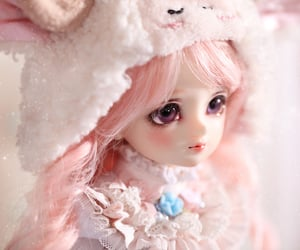 bunny ears, cute, and doll image