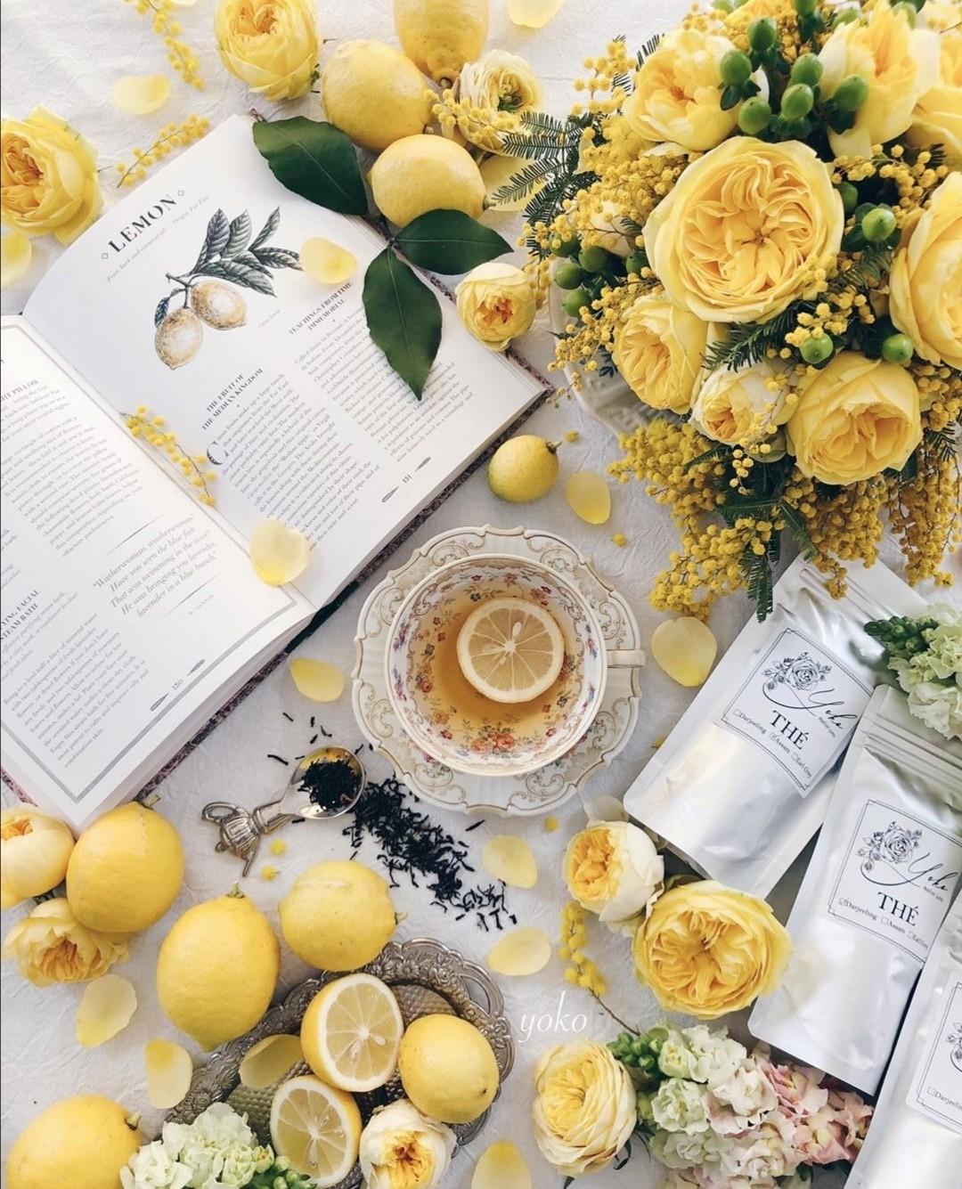 book, lemon, and tea image