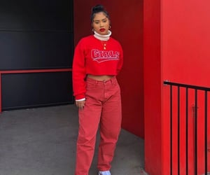 models, monochromatic, and red outfits image