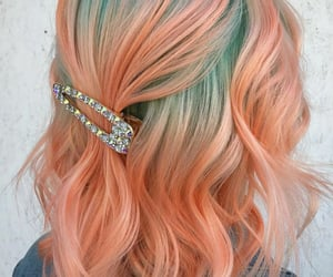 barrette, peach, and beauty image