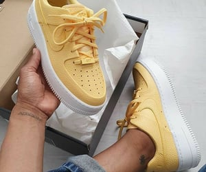 shoes, yellow, and sneakers image