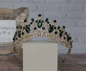 crown, emerald, and bridal image