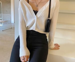 outfit, white, and black image