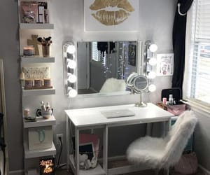 mirror, bedroom, and makeup image
