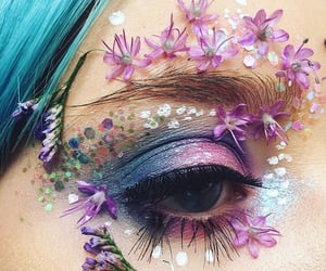 eye, flowers, and makeup image