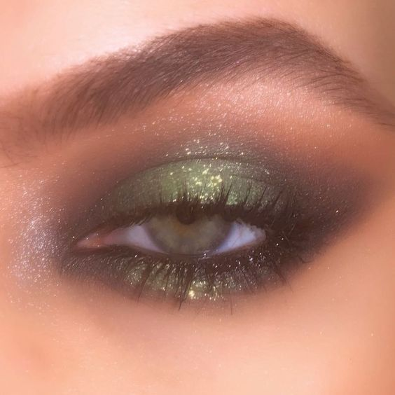 makeup, glitter, and green image