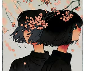 art, drawing, and sakura image