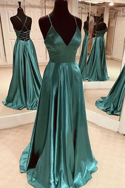 A Line V Neck Open Back Emerald Green Satin Long Prom Dress Backless Emerald Green Formal Graduation Evening Dress