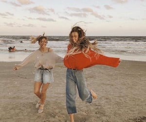 girl, beach, and friendship image