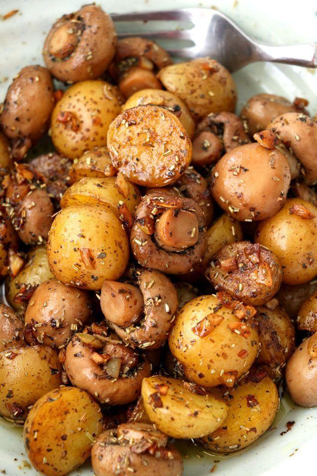 baby potato and garlic mushroom image
