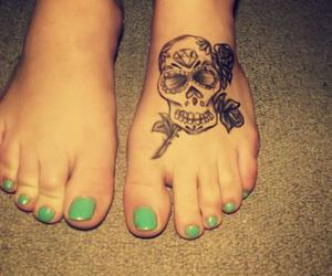 pretty, tattoo, and suger skull image