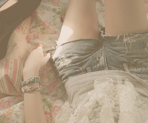 girl, shorts, and jeans image