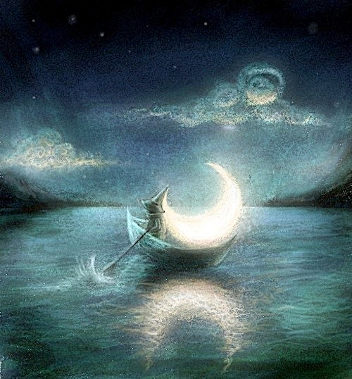 russian artist, art is real, and floating moon image