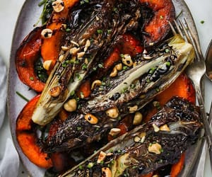 radicchio, kale salad, and roast kuri squash image