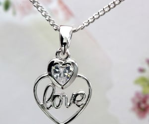 love heart pendant, hkzoemall zoemall jewelry, and silver fashion necklace image