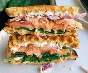 food, onions, and salmon image