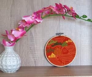 autumn, burnt orange, and embroidered hoop art image