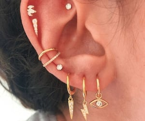 ear, ear piercings, and Piercings image