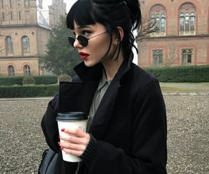 girl, black, and coffee image