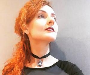 choker, neckalce, and red hair image