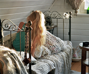 girl, bed, and blonde image