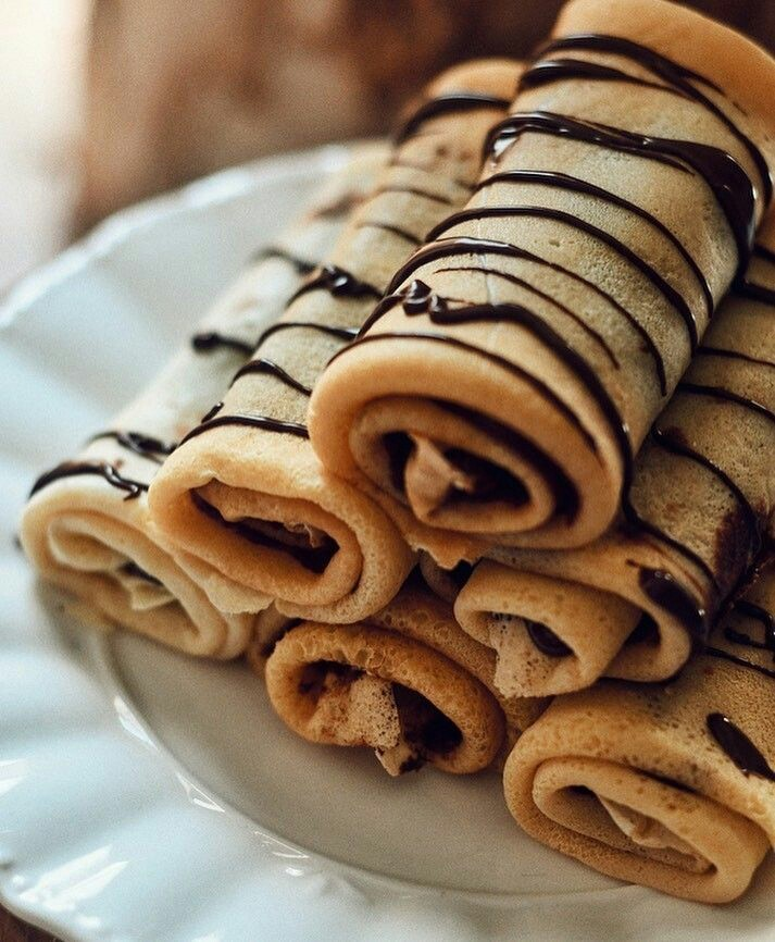 food, chocolate, and crepes image