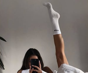 girl, nike, and bed image