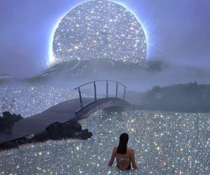 glitter, moon, and aesthetic image