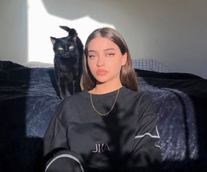 girl, black, and cat image