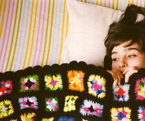 girl, bed, and blanket image