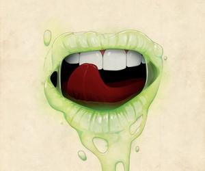 lips, green, and art image