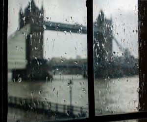 london, rain, and window image