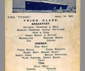 1912 and menu from the titanic image