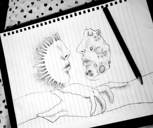 drawing, hands, and moon image