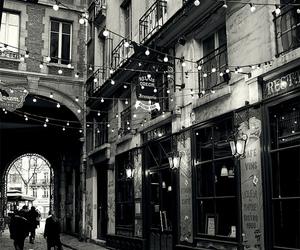 black and white, lights, and city image