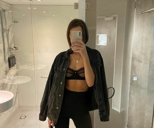 bathroom, black, and bra image